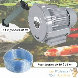 Kit Pompe À Air Vortex Turbine 30000 l/h + 14 diffuseurs 30 cm Pour Bassins De Jardin