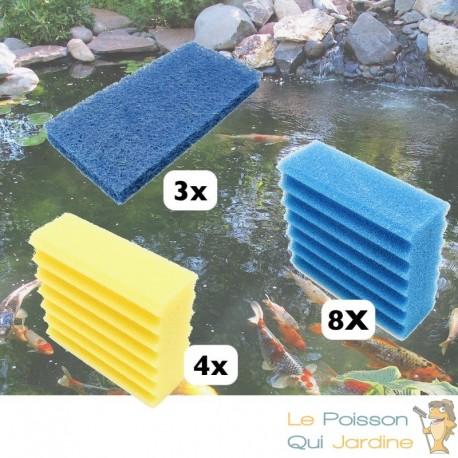 Lot De 4 Mousses De Filtration Jaunes + 8 Bleues + 3 Tapis Japonais, De Remplacement Pour Bassins