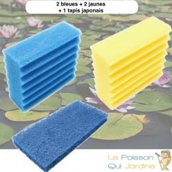Lot Mousses De Remplacement, 2 Mousses Jaune + 2 Bleues + 1 Tapis Japonais