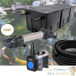 Kit de Filtration complet avec UV 55W pour bassin de jardin : 40 à 60 m³