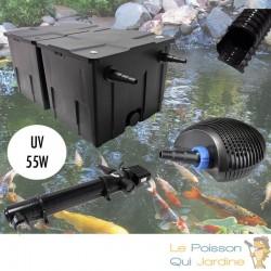 Kit Filtration Complet, UV 55W, Pour Bassins De Jardin De 25000 L
