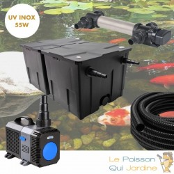 Filtre complet avec UV 55W INOX pour bassin de jardin : 10 à 15 m³ avec poissons