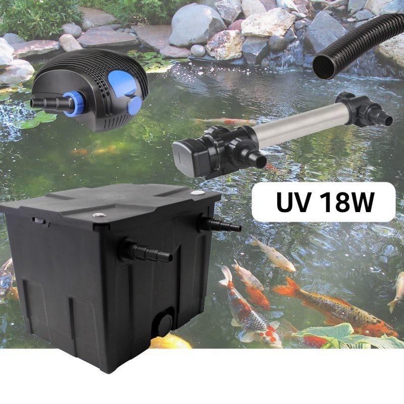 Kit De Filtration, Avec UV 18W Inox, Pour Bassin De Jardin : 5 à 10 m³
