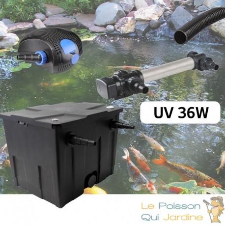 Kit De Filtration, Avec UV 36W INOX , Pour Bassin De Jardin : 5 à 10 m³