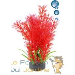 Plante plastique rouge avec bulleur pour aquarium : 20cm