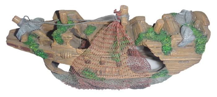 Bateau Filet décor pour aquarium : 23 cm de long